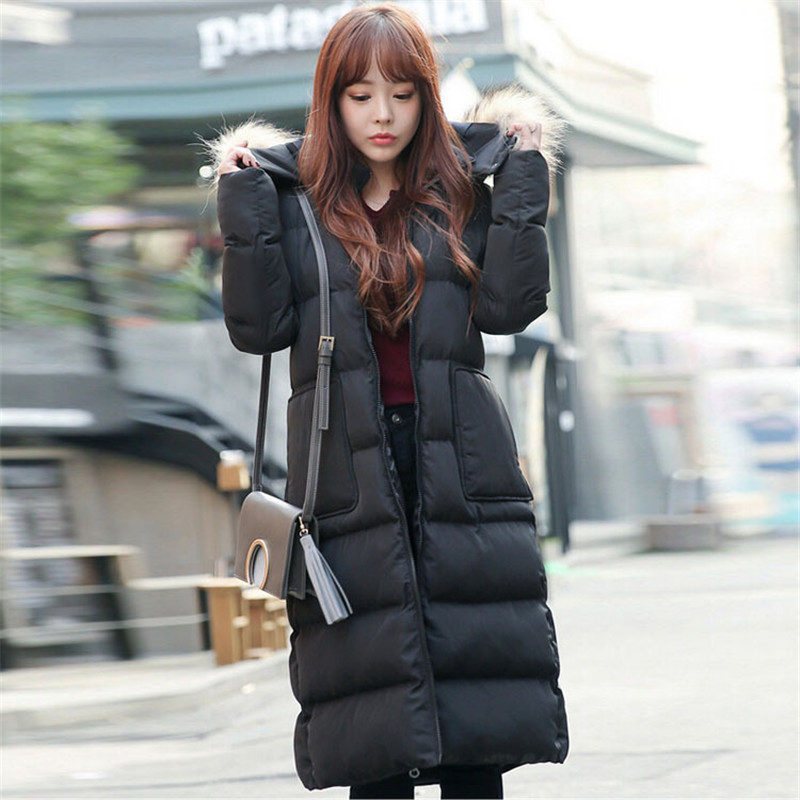 Outerwear Winter Black Long Slim Down Cotton Padded Jacket Women Ladies Real Raccoon Fur Coat Parka Women Thick Warm Coat TT155 2016 winter jacket women outerwear female real fur collar new arrival women down thick casual warm slim coat parka hot sale