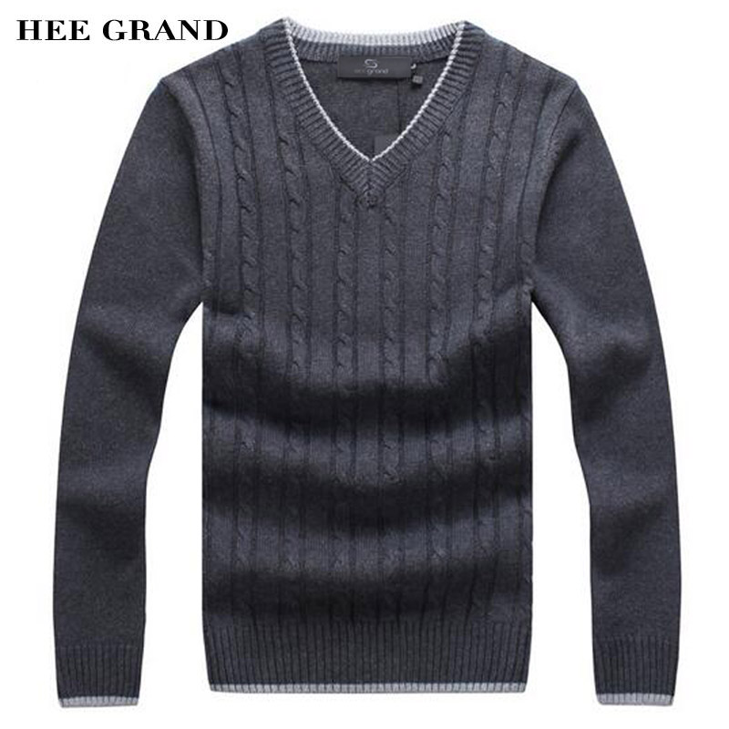 HEE GRAND Men Fashion Sweater V Neck Thick Whole Cotton Windproof Twisted Pattern Warm Winter Pullovers
