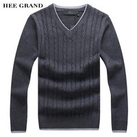 HEE GRAND Men Fashion Sweaster V Neck Thick Whole Cotton Windproof Twisted Pattern Warm Winter Pullovers