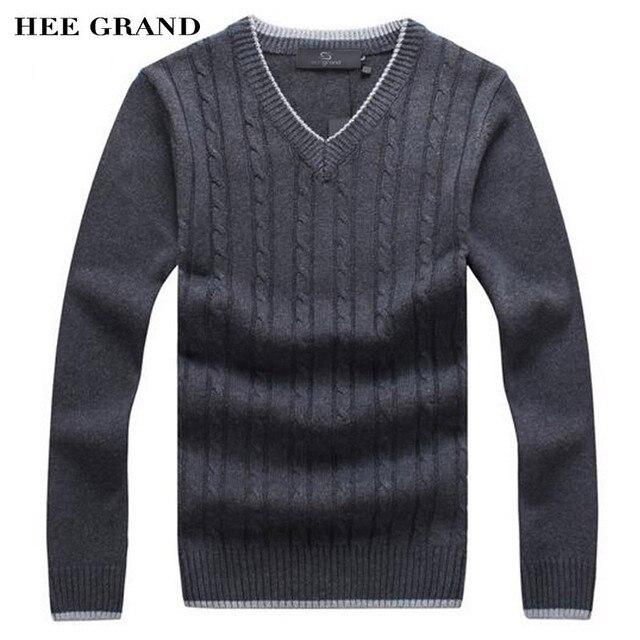 Hee Grand/мужские модный свитер v-образным вырезом толстый весь хлопок ветрозащитный витой узор теплые зимние пуловеры плюс Размеры MZM480
