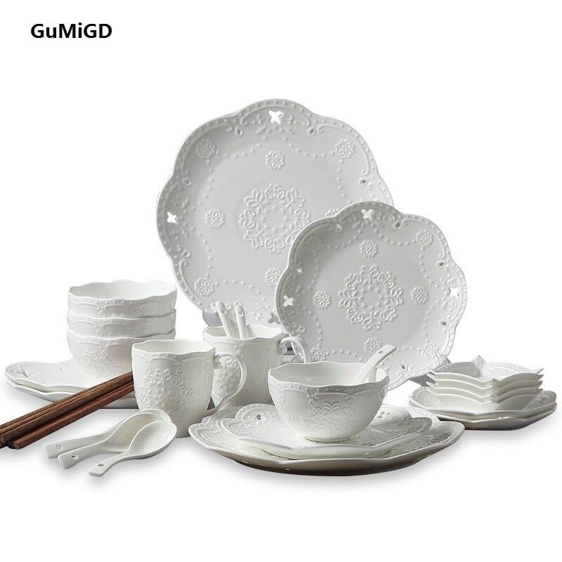 Ceramic tableware 28 European style sculpture butterfly fish plate glass  spoon creative gift set gemei gm 7003