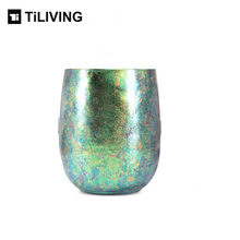 TILIVING Pure titanium cup mug double-layer anti-scalding water cup coffee cup lovers simple cup juice beer mug(China)