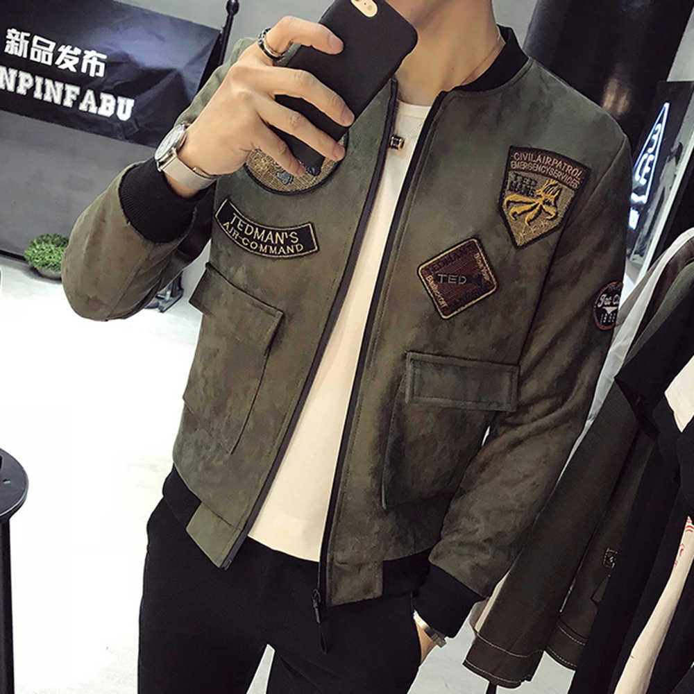552acab96ce ... Демисезонный новые замшевые куртки Для мужчин Мода 2018 Slim Fit патч  Дизайн Курточка бомбер большой карман ...
