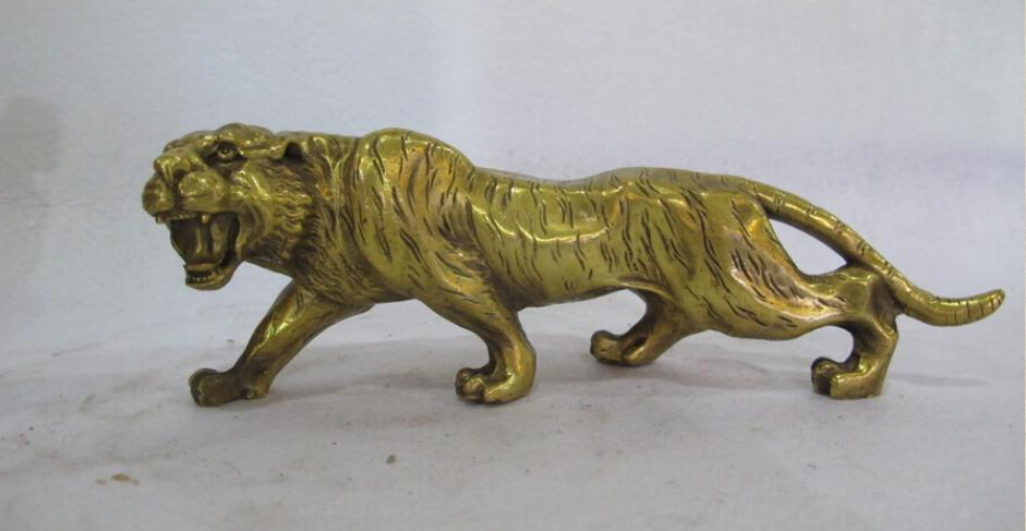 Chinese Brass Copper Carved animal Tiger Statue statue animal potstatue wood - title=
