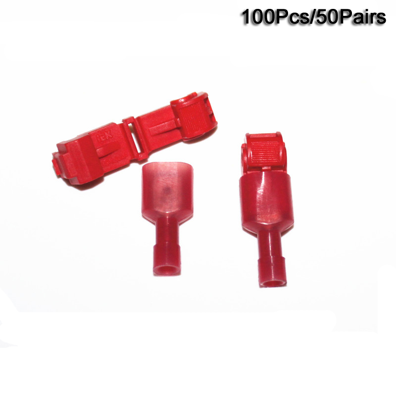 Free ship 100x RED T TAPS & MALE WIRE CONNECTORS SPLICE ELECTRICAL ...
