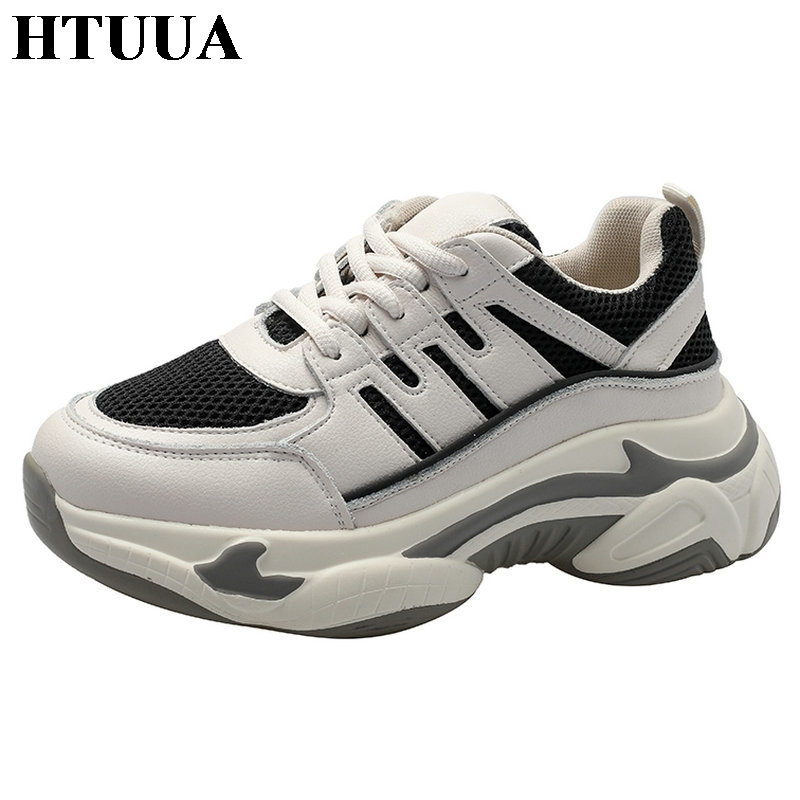 HTUUA 2019 Autumn Sneakers Women Casual Shoes Comfortable Breathable Mesh Platform Shoes Woman Trainers chaussure femme SX3040(China)
