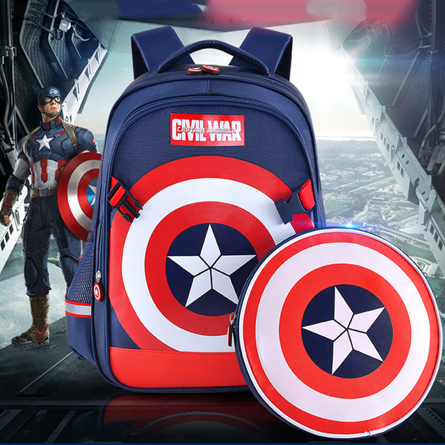 f07dae91e5 Disney Children s School Bag Marvel Super Hero Backpack for Kids Captain  American Bag Iron Man Shoulder