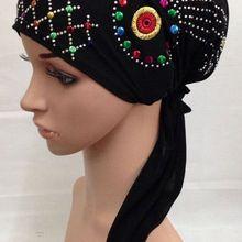 Расшитые блестками узоры отправляются в случайном порядке) кристальная упругая мусульманская шляпа хиджаб исламский тюрбан(больше цветов сейчас
