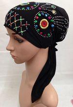 sequin patterns send random crystal ITY elastic muslim hat hijab islamic turban