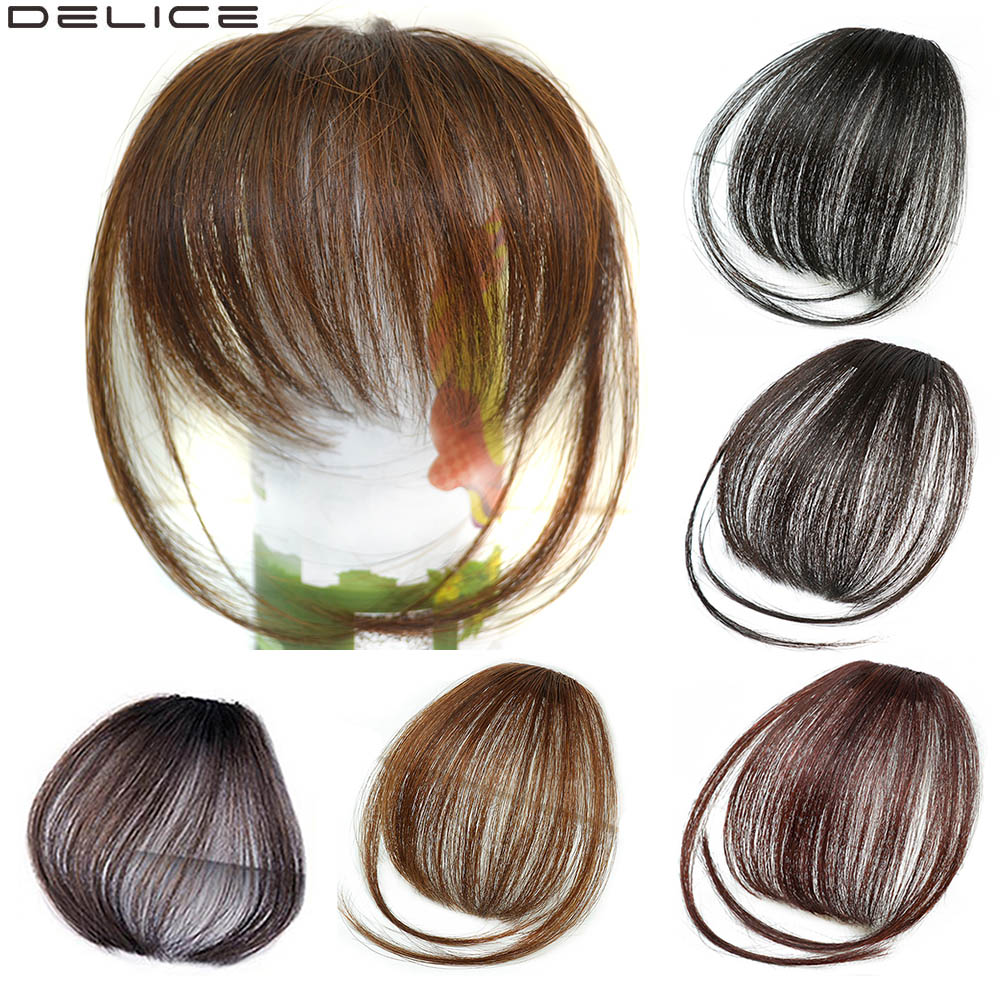 Delice Clip In Straight Thin Blunt Air Bangs Heat Resistance Synthetic Side Fringe Hair Neat Bang Natural Black Hairpieces