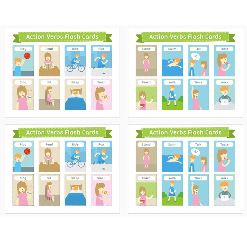 4Pcs/Set English Action Verbs Word Cards A4 Flash Card Preschool Classroom Decoration Learning Educational Toys Kids Montessori