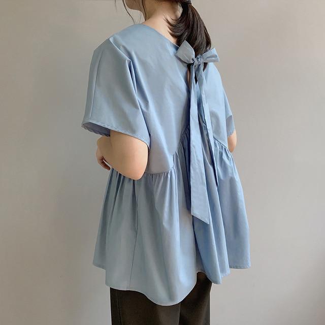 Summer New Age-receiving Women Peplum Top   Blouse     Shirt   Back Bow   Shirt   Loose Female Tops