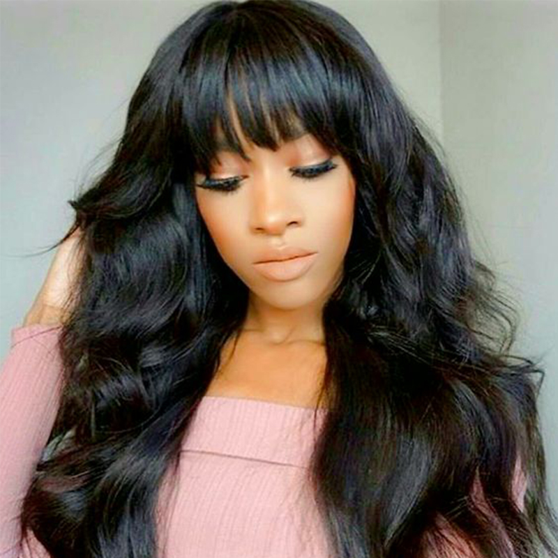 13x6 Lace Front Human Hair Wigs With Bangs 250 Density Brazilian Body Wave Lace Frontal Wigs