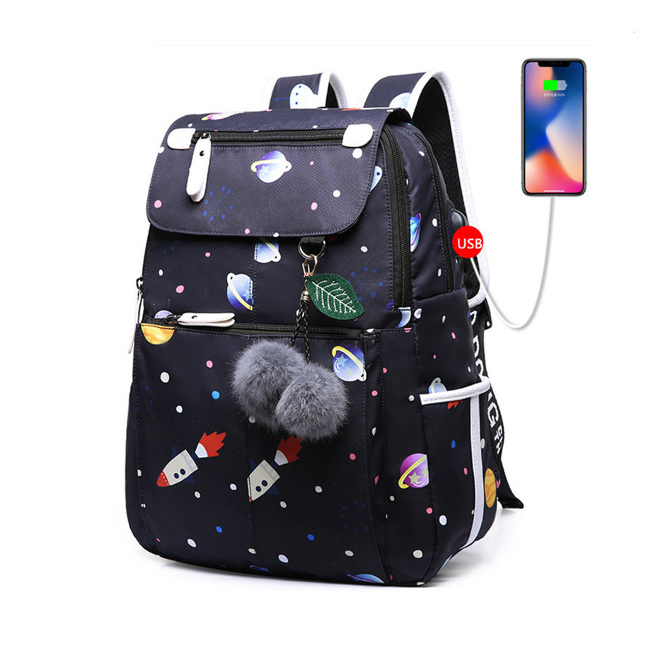 c4940cdb5cb3 Dropwow FengDong female fashion school backpack usb school bags for ...