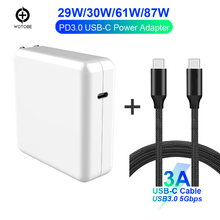 USB-C Charge Cable Power Adapter 29W/30W 61W 87W PD Charger For new MacBook Pro/Air iPhone/iPad Pro (Standardized cable)