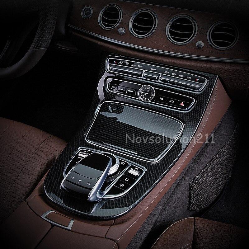 Imitation Carbon Fiber Gear Box Panel Cover For Benz E Class W213 2016 2017 yandex w205 amg style carbon fiber rear spoiler for benz w205 c200 c250 c300 c350 4door 2015 2016 2017