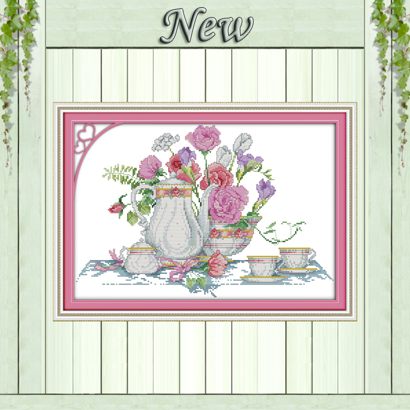 Home & Garden Arts,crafts & Sewing Orderly Pink Rose Table Flower Vase Painting Decor 11ct Counted Print On Canvas Dmc 14ct Diy Cross Stitch Kit Embroidery Needlework Sets Diversified Latest Designs