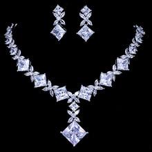 Emmaya Brand Cubic Zircon Bridal Jewelry Sets Silver Color Necklace Earrings Set Wedding Jewelry Parure Bijoux Femme Party
