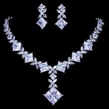 Emmaya Conjunto de joyería nupcial de circonita cúbica, conjunto de collar y pendientes de Color plateado, joyería de boda, bisutería para fiesta