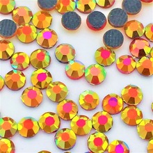 Newest orange AB strass 1440pcs/bag Appliques Nail art crystal garment accessories iron on shoes cloth crystal Rhinestones