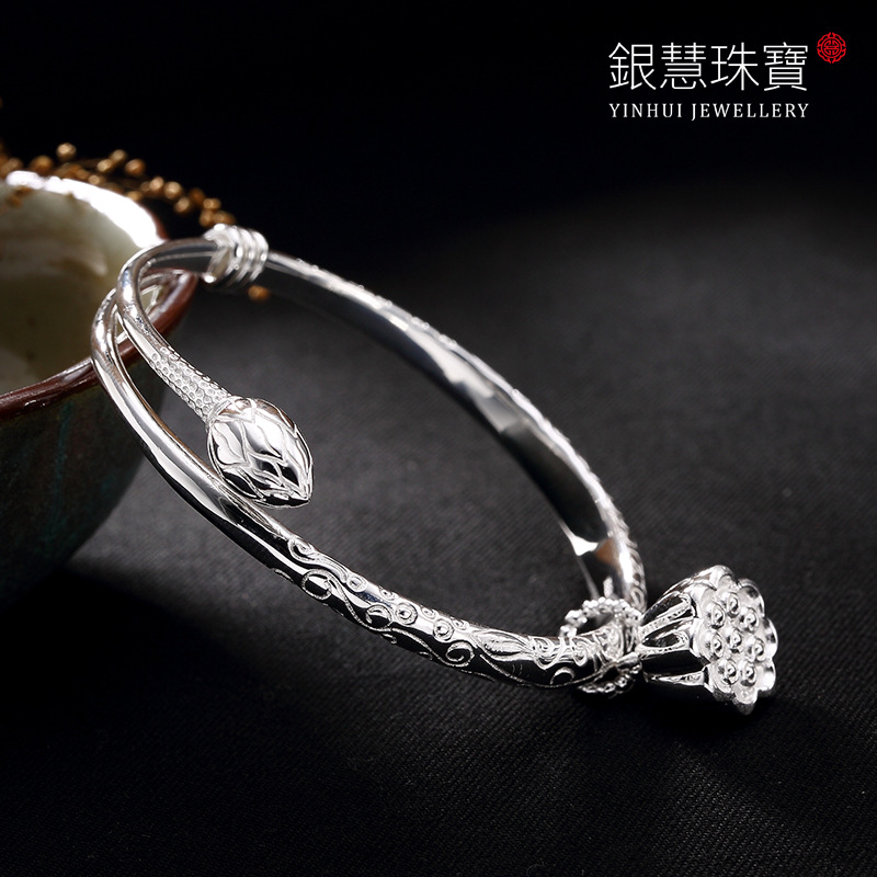 Pure Silver Lotus Lotus Open Plain Silver Restoring Ancient Ways Ms Solid High-grade Bracelet Wholesale Personality