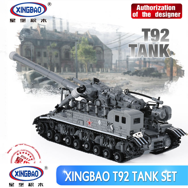 XingBao 06001 1389Pcs Creative MOC Military Series The T92 Tank Set Education Building Blocks Bricks Children Toys Model Gifts hot modern military t92 tank moc building block model bricks toys collection for adult children gifts