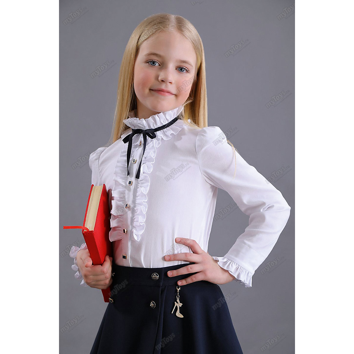 Malenkaya Lady Blouses & Shirts 11685775 blouse for girl school  clothes jacket wardrobe childrens shirt White Blue Girls Turtleneck malenkaya lady blouses