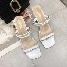 Slip On Sandals Women Classics Strap Sandals Ladies Sexy High Heels Slippers Women Shoes 2019 Summer New White Soft Heels Sandal