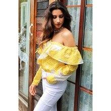 Cold shoulder blouse shirt women tops Summer cotton blouses chemise Yellow ruffle striped long sleeve shirt women tops