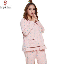 2017 New Spring Autumn Women's Cotton Lovely Pajamas Sets Long Sleeve Sleepwear Nightwear Home Clothes Sleep & Lounge SY528