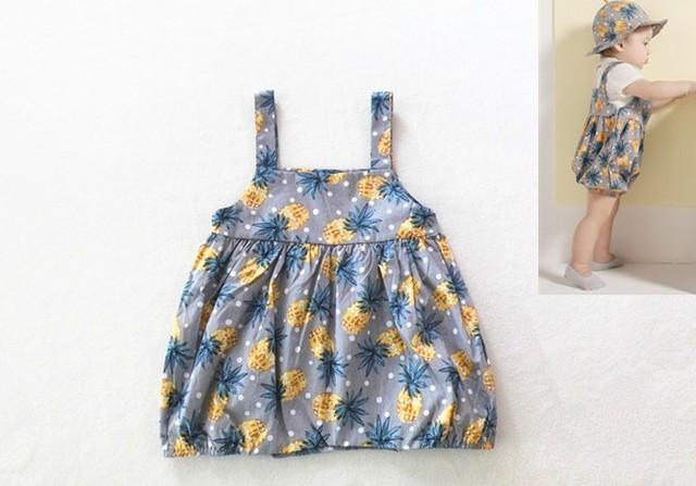 2016 verano mamelucos patrón Piña fruta bebé ropa de escalada de algodón infantil del mameluco recién nacido traje ropa