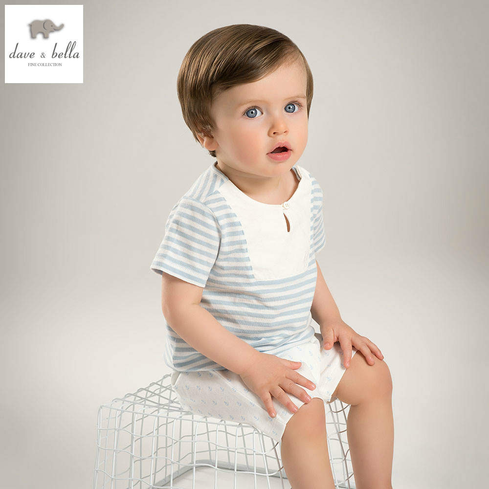 DB5110 dave bella summer baby boys clothing sets blue white stripes sets child sets infant clothes kids sets baby costumes
