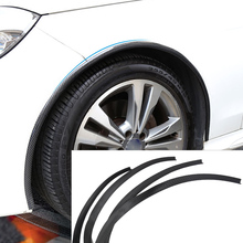 CITALL 4 pcs Carbon Fiber Car Wheel Rubber Eyebrow Protector Lip Arch Trim Flare Fender Strip for Ford Audi BMW Kia Mazda Toyota