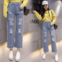 5xl plus big size jeans panty women spring summer style autumn 2017 feminina new casual hole outfit denim pants female Y0289