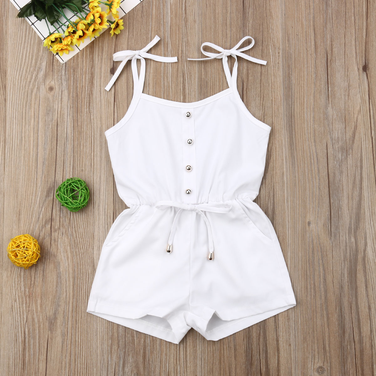 Emmababy Summer Newborn Baby Girl Clothes Solid Color Sleeveless Ruffle Strap Romper Jumpsuit One-Piece Outfit Sunsuit Clothes