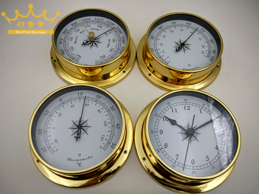 4 pcs set Brass Case Traditional Weather Station Barometer Temperature Hygrometer Humidity and Clock White Dial