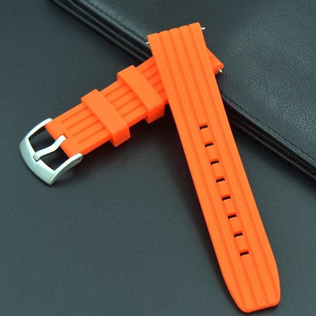 1a12f3f1ef5 Laranja 22mm tiras de Substituição pulseira Pulseira relógios pulseira de  borracha de silicone macio de alta
