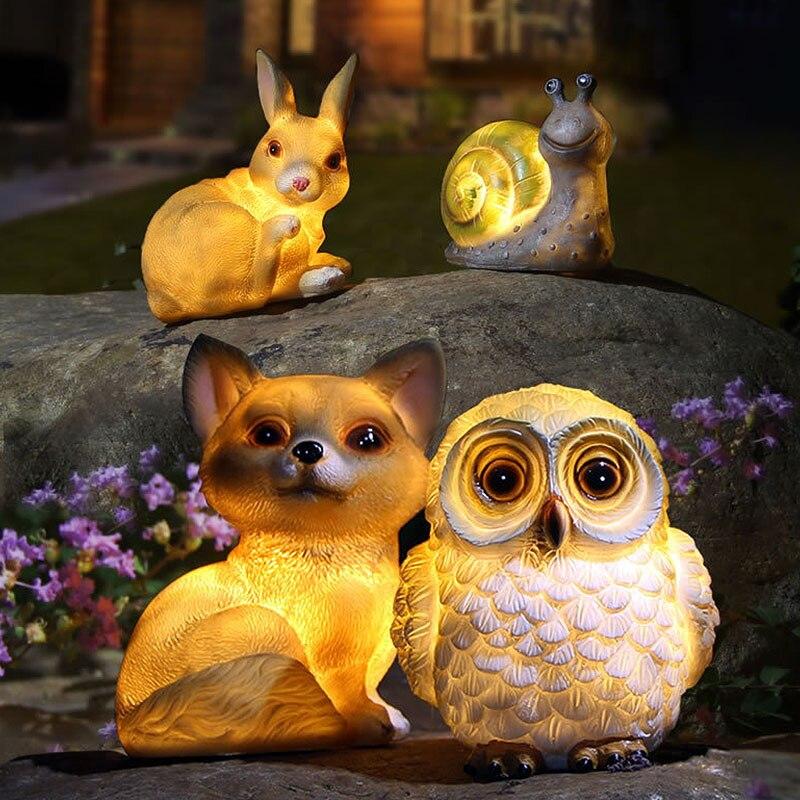 LED Waterproof Snail Solar Power Lamp Landscape Ornament Animal Owl Rabbit Dog Underground Light Garden Yard Decor Warm Light