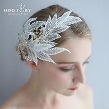 Himstory Retro Vintage European Hair Jewelry Handmade Rhinestones Feather Headband Wedding Bridal Accessories
