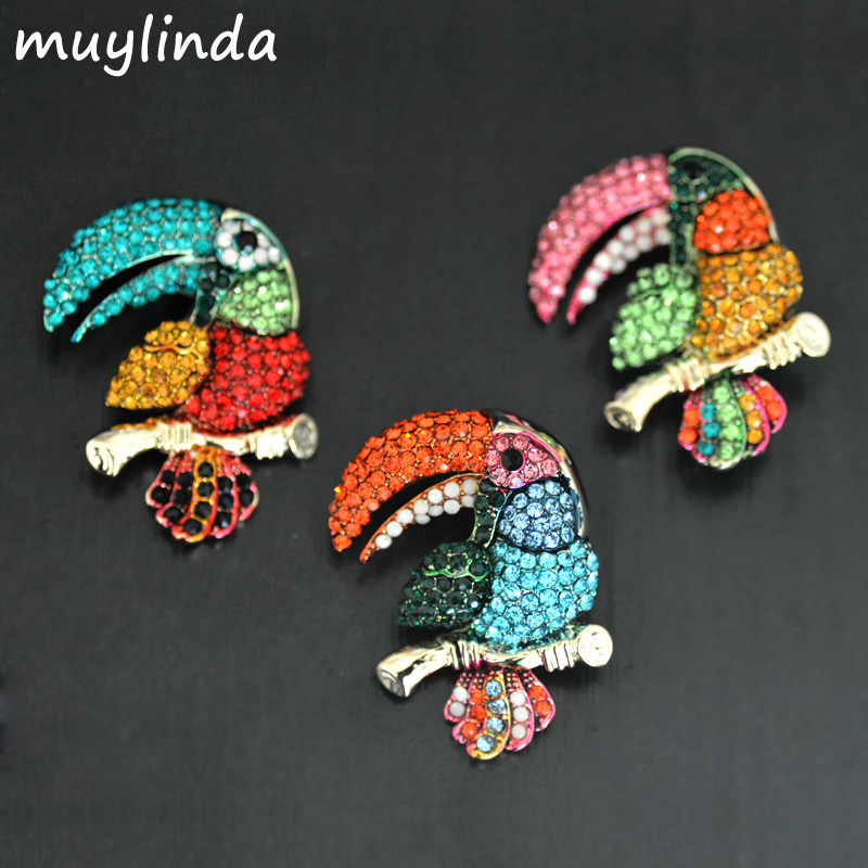Fashion Colorful Toucan Rhinestone Brooches Women Fashion Costume Animal Brooch Pin Jewelry Clothes Accessories Jewelry