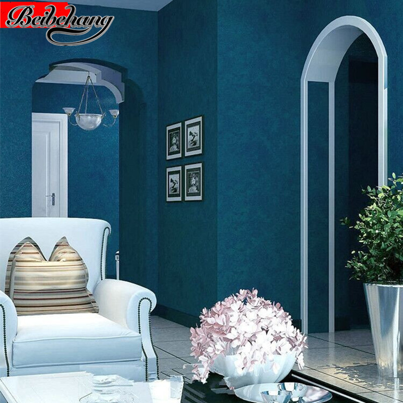 beibehang Environmental nonwovens dark blue Mediterranean wallpaper bedroom living room backdrop modern simple plain wallpaper beibehang simple plain american mediterranean dark blue wallpaper pure color bedroom living room tv background wallpaper garment