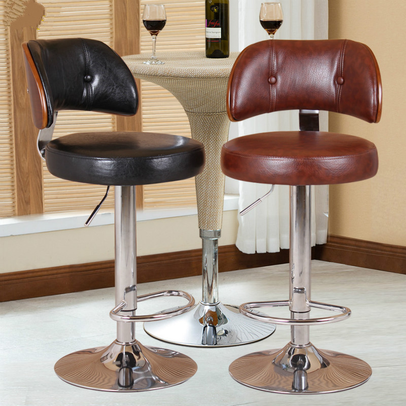 Bar Stool Nordic Bar Chair Linen Fabric Bar Stool PU Fabric Rotating Chair Solid Wood Backrest Cashier Front Desk High Stool