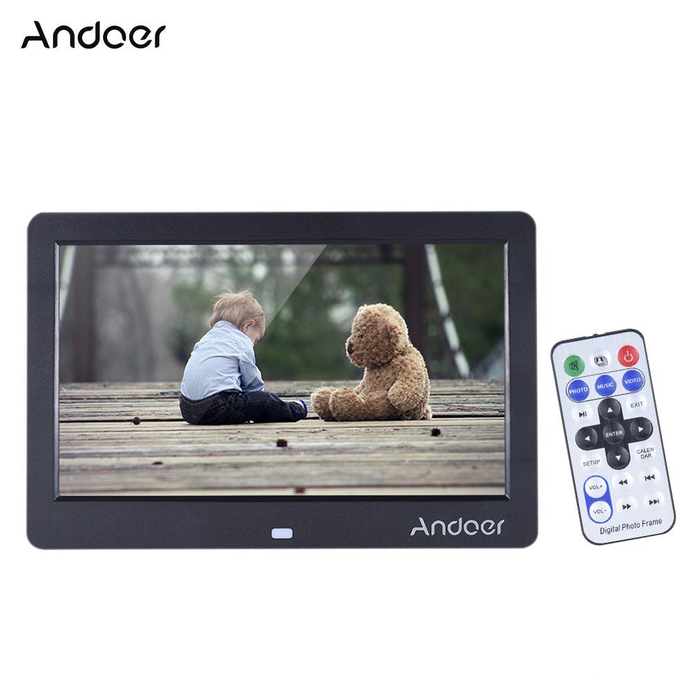 """Prix pour Andoer 10 """"HD LED Numérique Cadre Photo 1280*600 Cadre Photo Électronique Horloge Calendrier MP3 MP4 Movie Player avec Télécommande"""