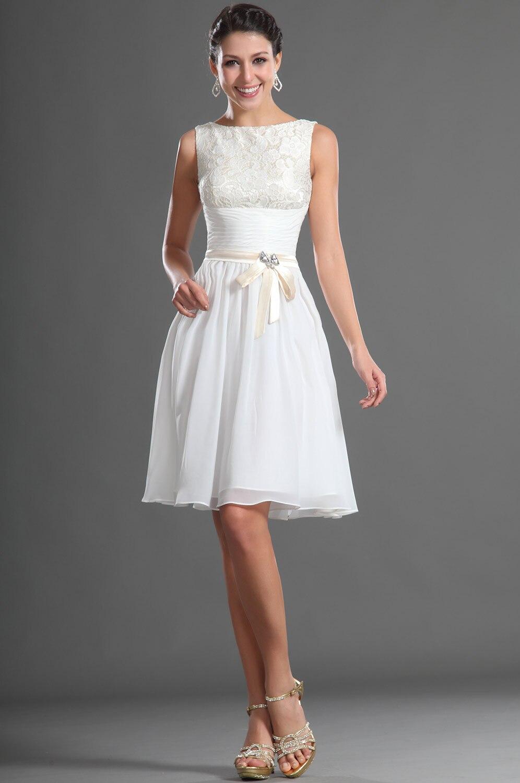 86a30b7cb MDBRIDAL Hasta La Rodilla Modest Mujeres Vestido Blanco de Encaje de Gasa  Corto Vestido de Fiesta Con Sash Formal de Tamaño Personalizado en Vestidos  de ...