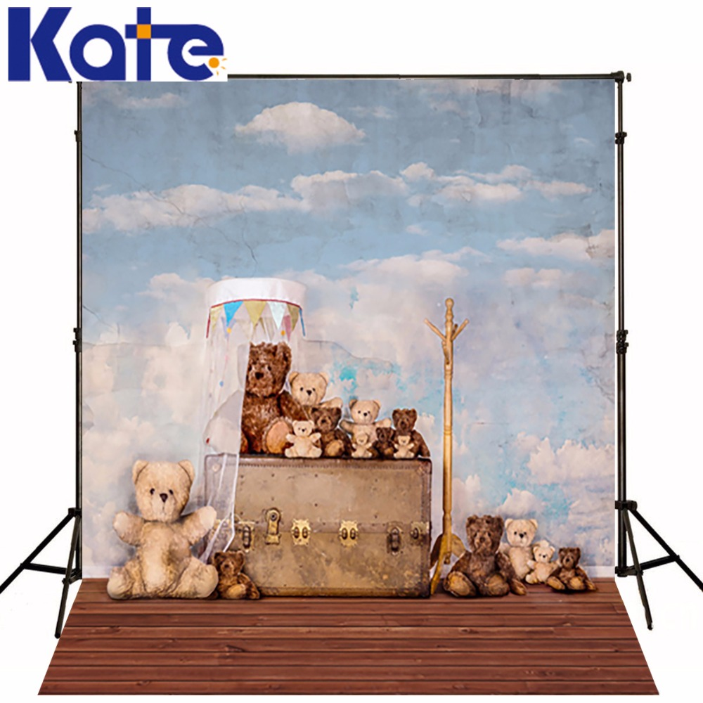 KATE Photo Background Children Photography Backdrop Wooden Floor Photography Backdrops Light Blue Sky Backdrop Interior Backdrop