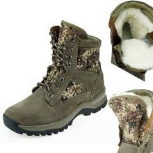 Chaud de fourrure hommes hiver neige bottes en peau de mouton botas hombre militares armée camouflage lacent plat désert combat cheville en cuir chaussures