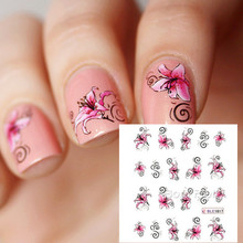 Butterfly & Flower Designed Nail Art Water Decals Pretty Nail Art BLE1817