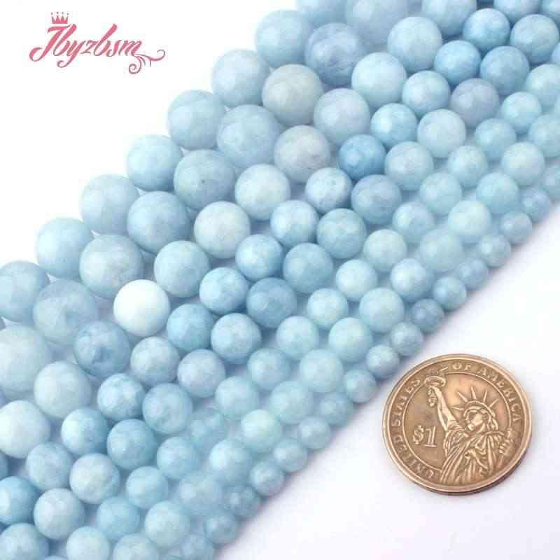 """6 8 10 12 14mm Ronde Kralen Aquamarines Jades Glad Losse Stenen Kralen Voor Ketting Armband DIY Vrouw Gift sieraden Maken 15"""""""