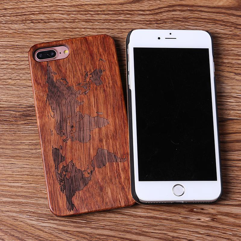 Newest SE 5S 6S 7 8 Plus Wooden Phone Shell,Solid Wood Sculpture World Map Design Engraved Retro Cover Case For Apple Iphone wood