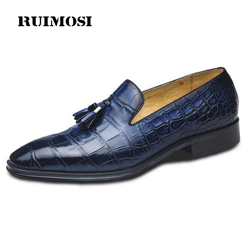 RUIMOSI Blue Fashion Tassels Man Casual Shoes Genuine Leather Height Increasing Loafers Pointed Toe Men's Bridal Footwear GD94